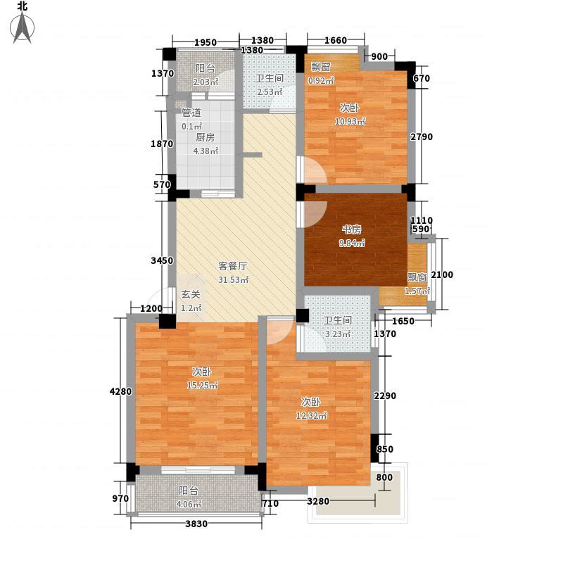 东方红郡118.00㎡三期多层15#楼户型3室3厅2卫1厨