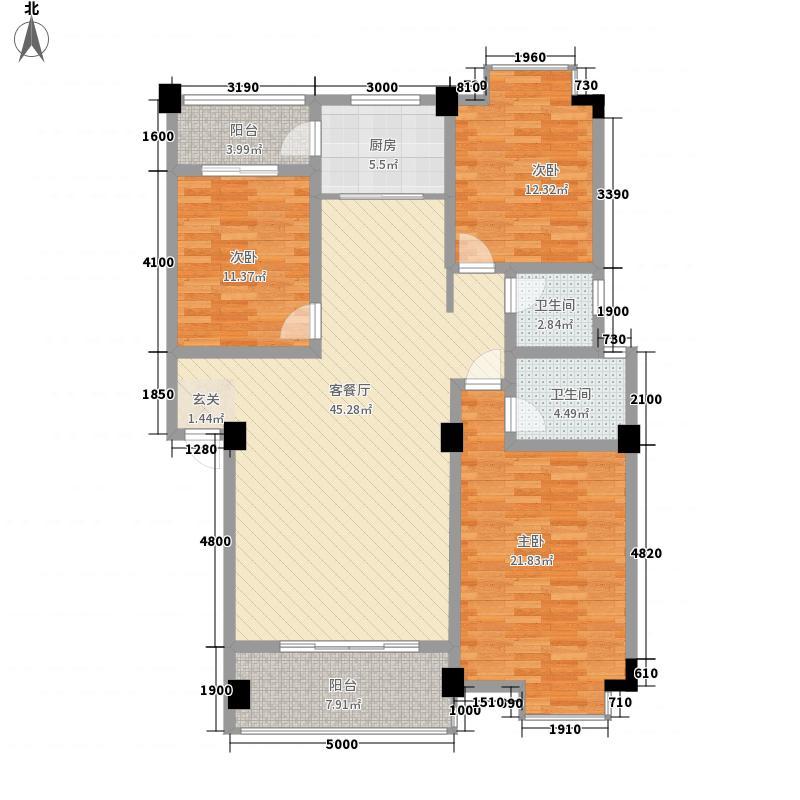 上东风景二期1135.84㎡10-D户型3室2厅2卫1厨