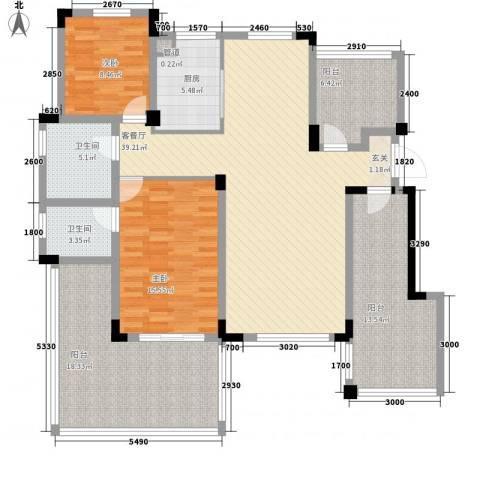 金鹏・爱丽舍宫2室1厅2卫1厨115.66㎡户型图
