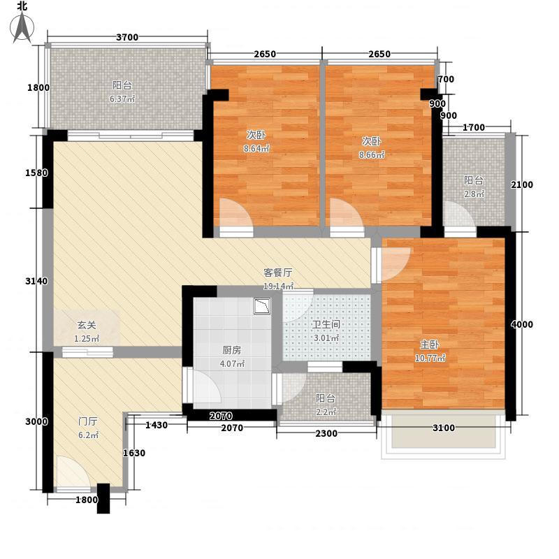香格名苑3室1厅1卫1厨88.00㎡户型图
