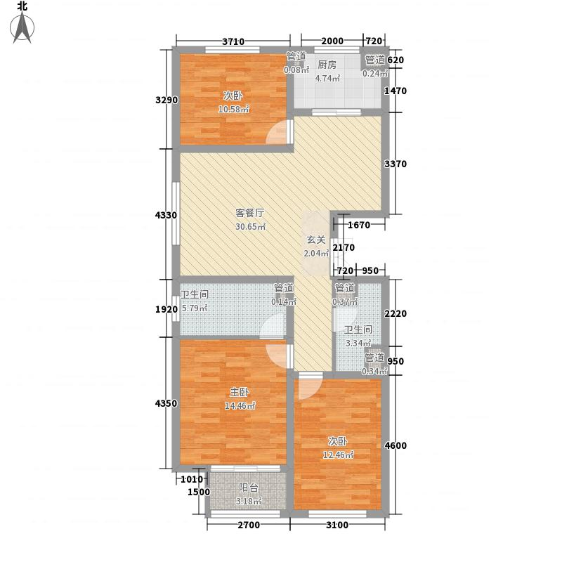 龙之光・国际中心124.57㎡A户型3室2厅2卫1厨