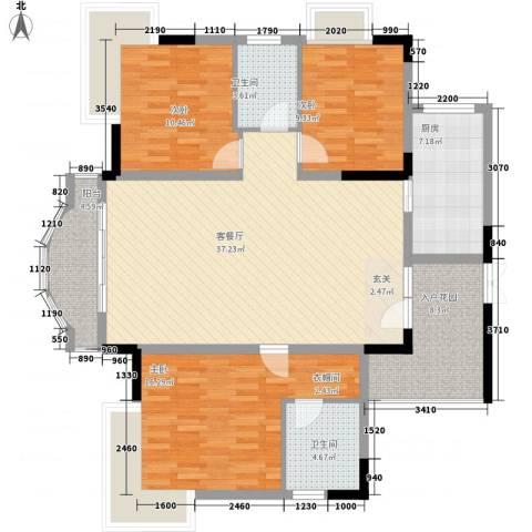 锦绣江山3室1厅2卫1厨131.00㎡户型图