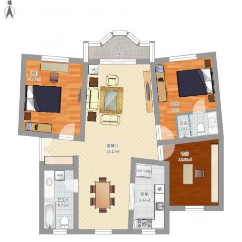 湖滨世纪花园3室1厅2卫1厨132.00㎡户型图