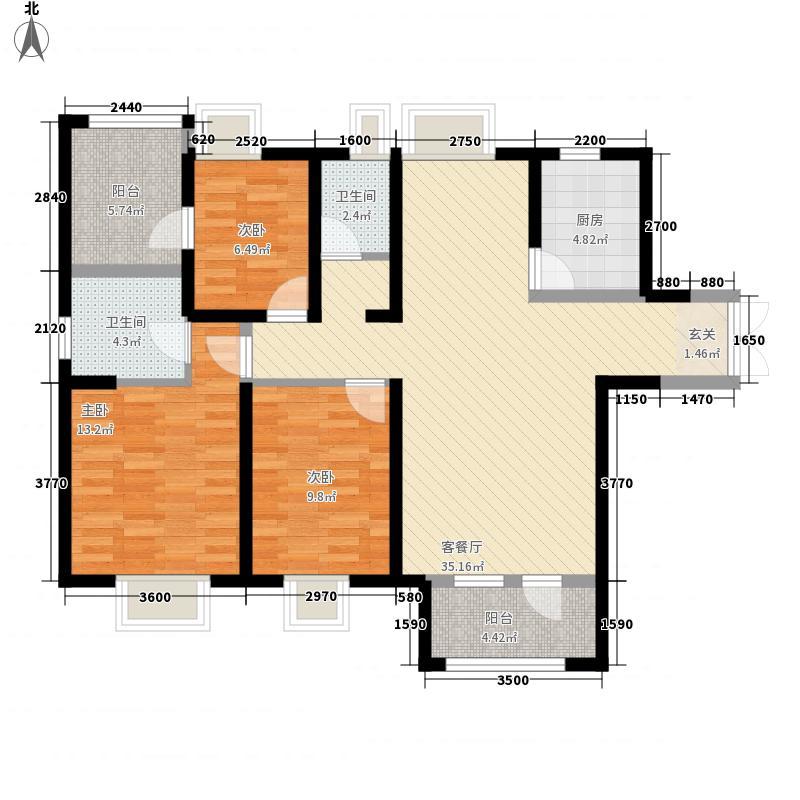 福星惠誉水岸国际澜桥公馆137.40㎡3号楼C1户型3室2厅2卫1厨
