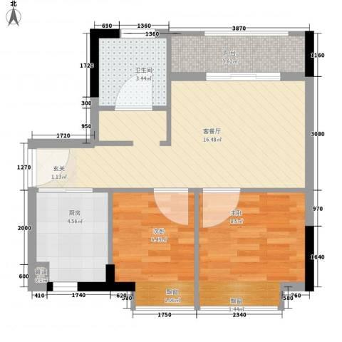华禧汇2室1厅1卫1厨62.00㎡户型图