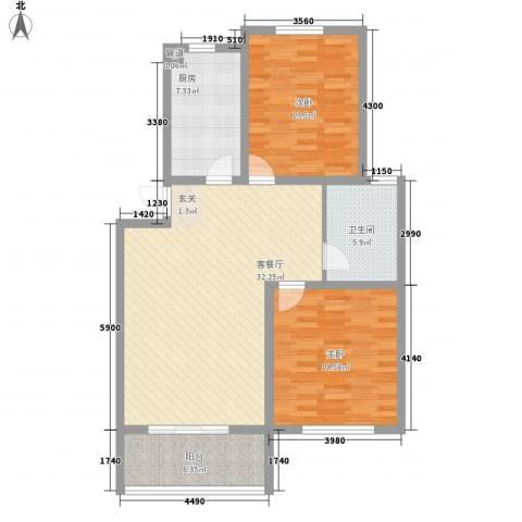 天润花苑二期2室1厅1卫1厨113.00㎡户型图