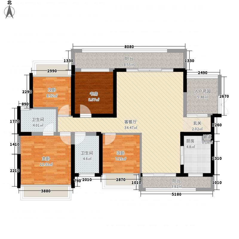 君华新城147.00㎡71栋高层Q1户型3室3厅3卫1厨