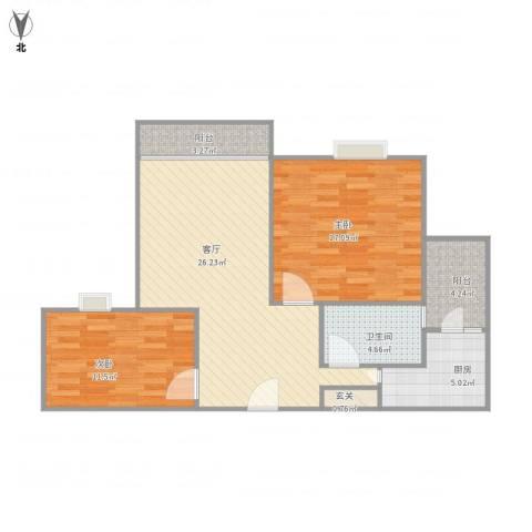 丽泽梅傲苑45号302室80平2室1厅1卫1厨99.00㎡户型图