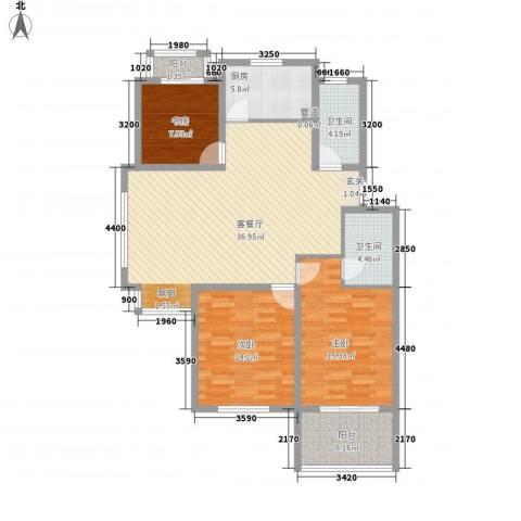 天润花苑二期3室1厅2卫1厨137.00㎡户型图