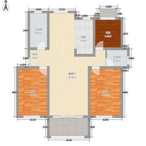 天润花苑二期3室1厅2卫0厨133.00㎡户型图