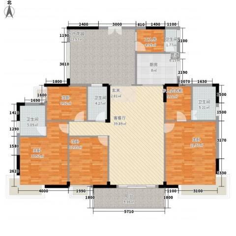 金河湾4室1厅4卫1厨168.41㎡户型图