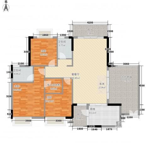 金河湾3室1厅2卫1厨118.21㎡户型图