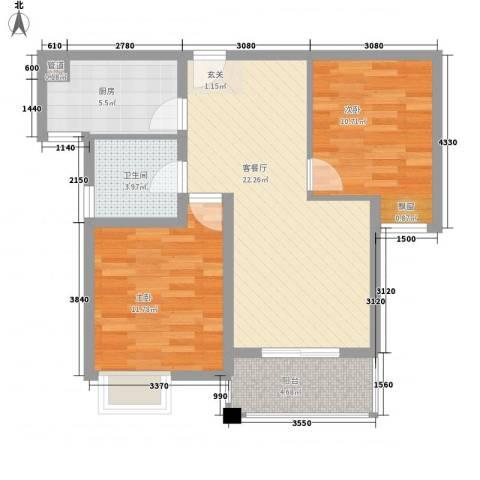 新城风尚2室1厅1卫1厨84.00㎡户型图