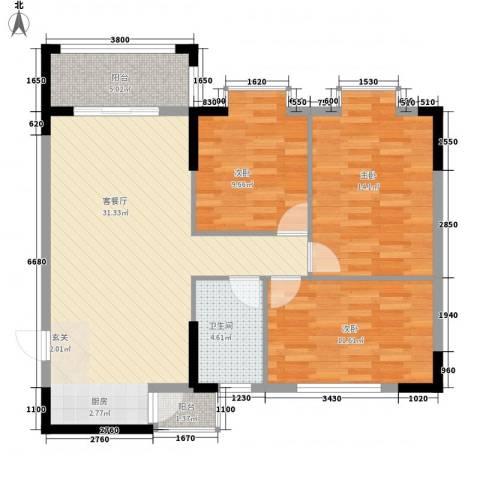 盈峰尚苑3室1厅1卫0厨108.00㎡户型图