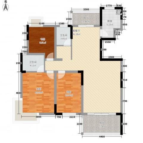 大地紫金城3室1厅2卫1厨100.90㎡户型图