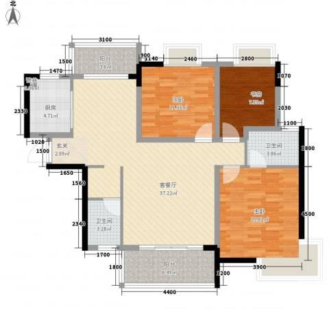 大地紫金城3室1厅2卫1厨122.00㎡户型图