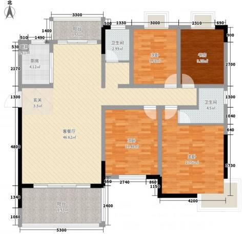 大地紫金城4室1厅2卫1厨168.00㎡户型图