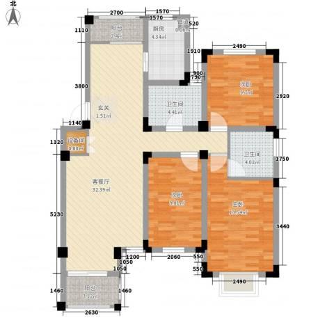 晟地绿园3室1厅2卫1厨123.00㎡户型图