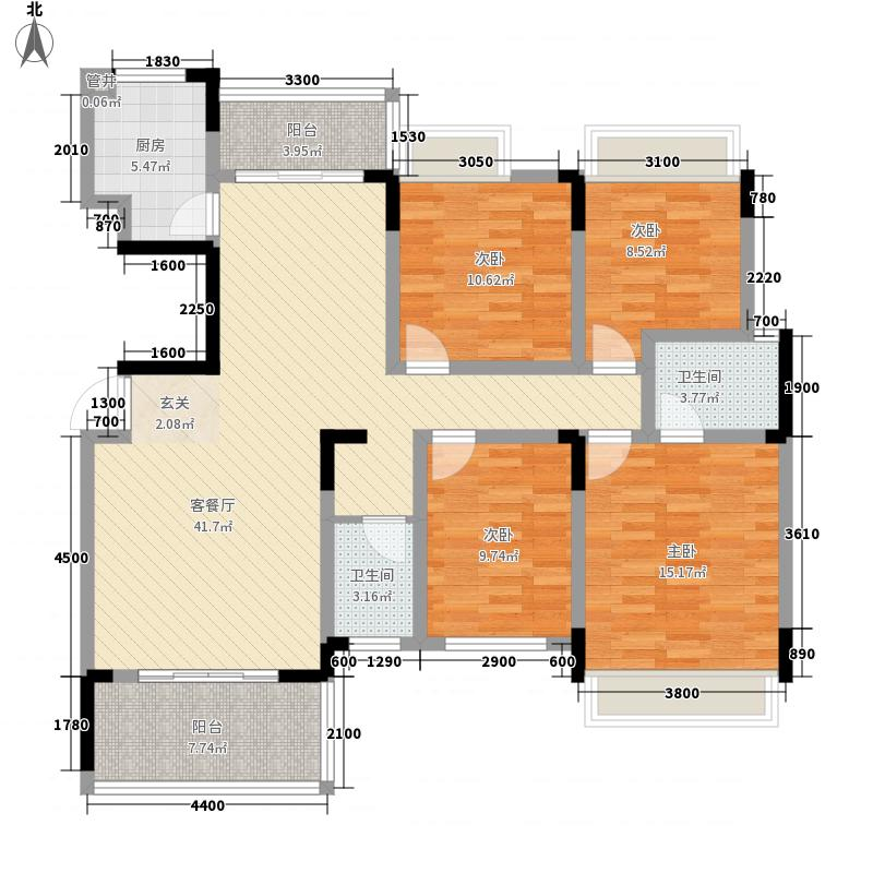 大地紫金城147.72㎡8#楼F户型4室2厅2卫1厨