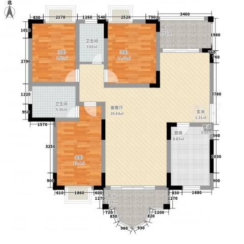 锦绣江山3室1厅2卫1厨117.83㎡户型图