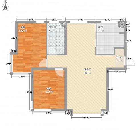 新世界花园湾景华庭2室1厅1卫1厨108.00㎡户型图