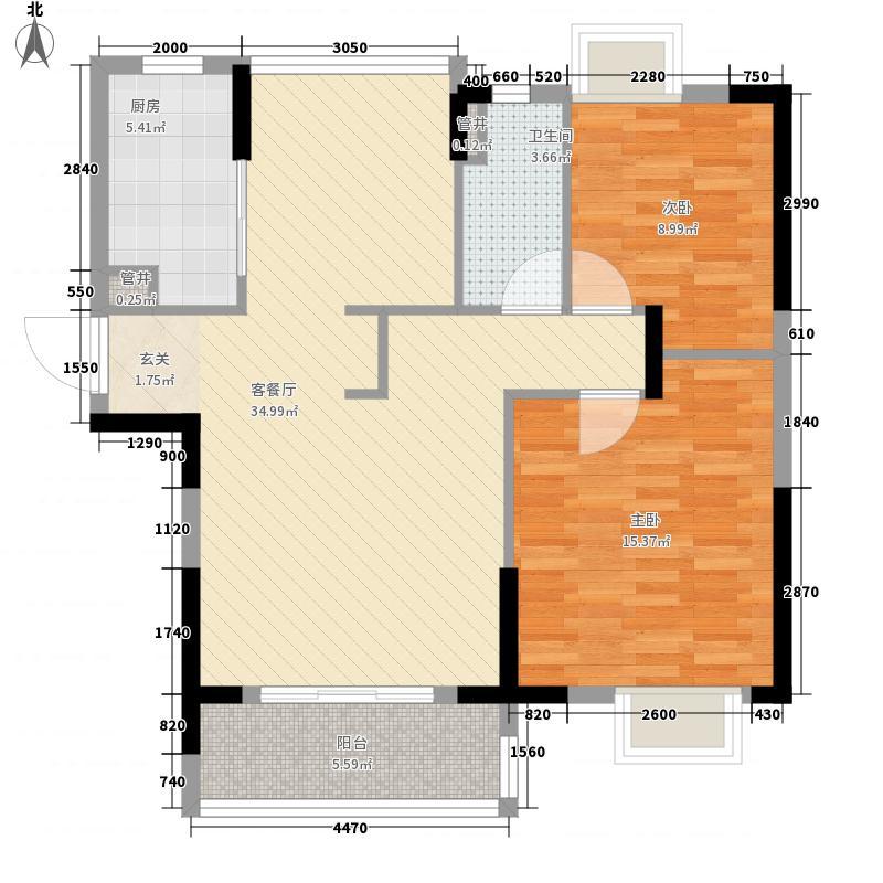 金泽儒家15.00㎡7号楼I户型2室2厅1卫1厨