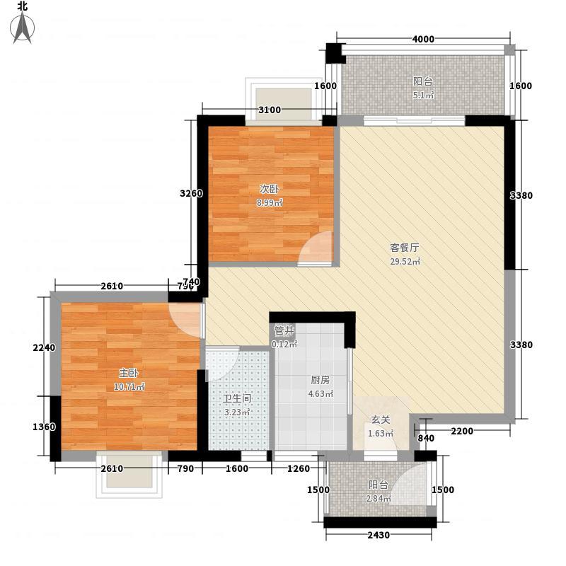 华城广场8.00㎡户型2室