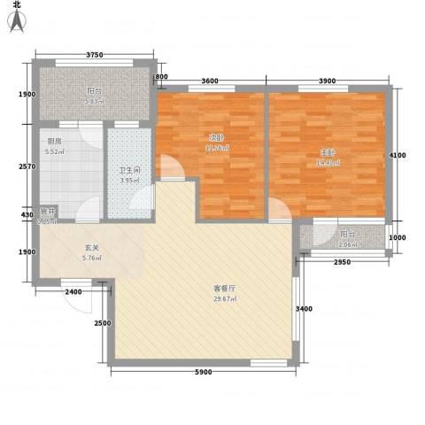 中海英伦观邸2室1厅1卫1厨103.00㎡户型图