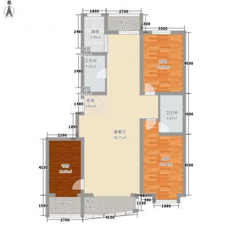 富山花园3室1厅2卫1厨147.00㎡户型图