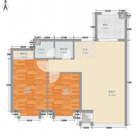 新世界花园湾景华庭2室2厅1卫1厨101.00㎡户型图