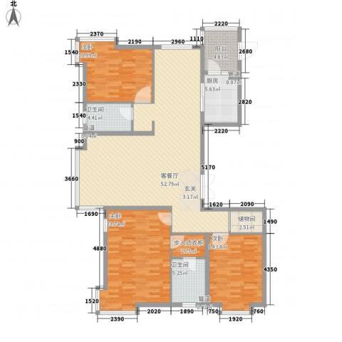新世界花园湾景华庭3室1厅2卫1厨170.00㎡户型图