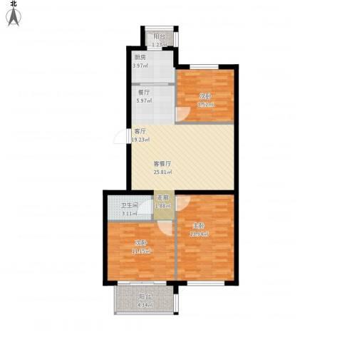 凯帝斯广场3室1厅1卫1厨102.00㎡户型图