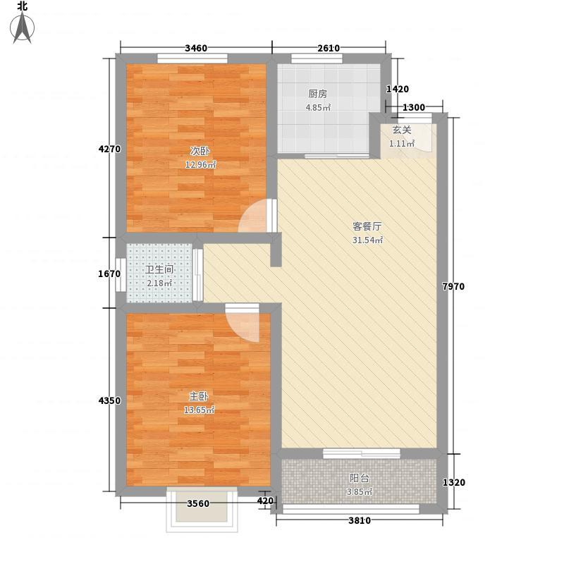 东京九里4.30㎡户型2室2厅1卫1厨