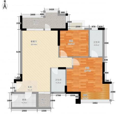 国明・皇御苑2室1厅2卫1厨79.76㎡户型图