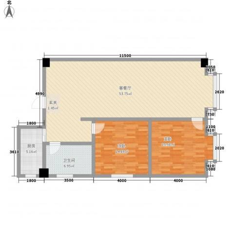 海棠铭居二期2室1厅1卫1厨135.00㎡户型图