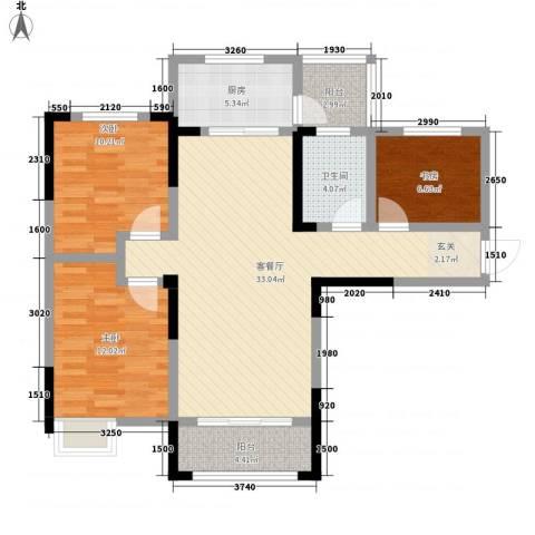 天明城3室1厅1卫1厨115.00㎡户型图