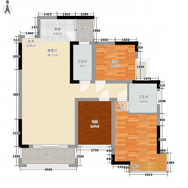 凯旋・湖景水岸114.40㎡7C户型3室2厅1卫1厨