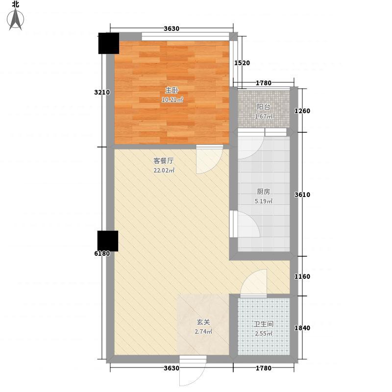 红景园58.77㎡F2户型1室2厅1卫1厨