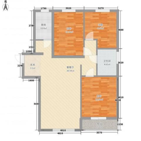 鼎晟国际3室1厅1卫1厨115.00㎡户型图