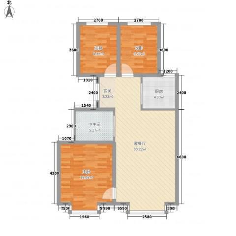 海棠铭居二期3室1厅1卫1厨106.00㎡户型图