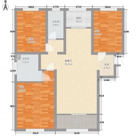 鼎晟国际3室1厅2卫1厨132.00㎡户型图
