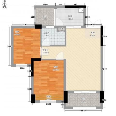 绿茵温莎堡香堤2室1厅1卫1厨84.00㎡户型图