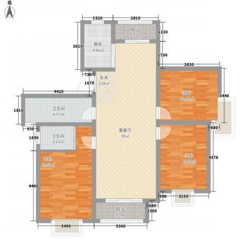 北城山水3室1厅2卫1厨135.00㎡户型图