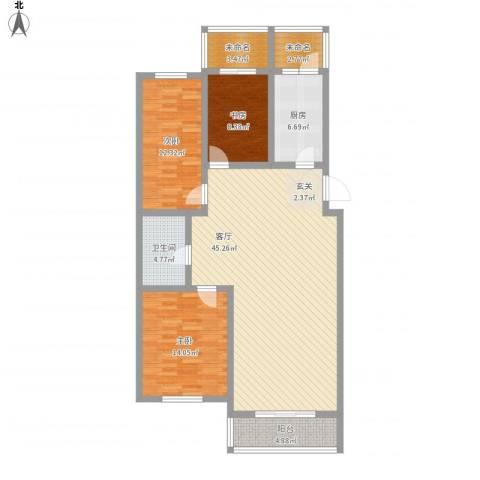 长达公寓3室1厅1卫1厨146.00㎡户型图