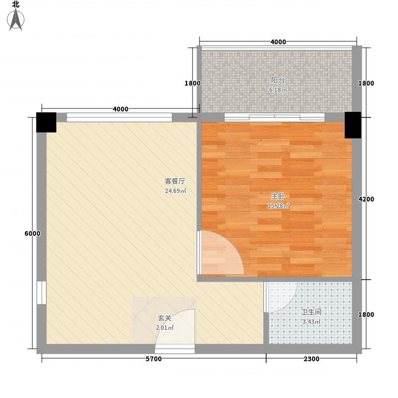 旺和山水金庭63.67㎡4#栋标准层B1户型1室2厅1卫1厨