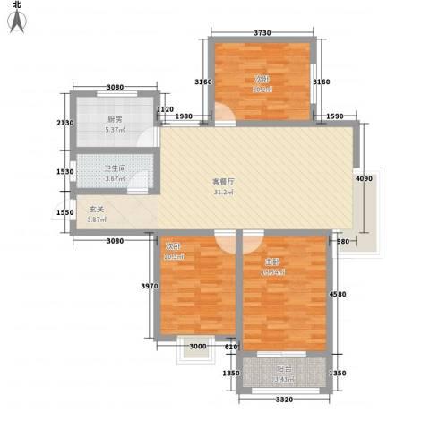 北城山水3室1厅1卫1厨111.00㎡户型图