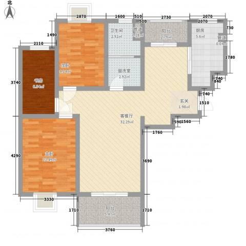 第五元素3室2厅1卫1厨117.00㎡户型图