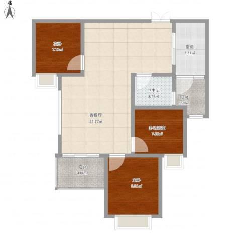 恒大绿洲842室1厅1卫1厨107.00㎡户型图