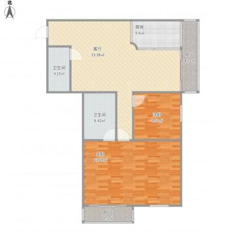 安慧北里逸园2室1厅2卫1厨127.00㎡户型图