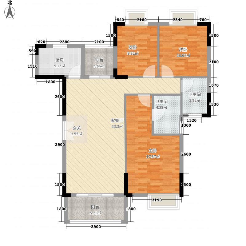 里维埃拉121.71㎡5栋、7栋1单元、6栋、8栋2单元0户型3室2厅2卫1厨